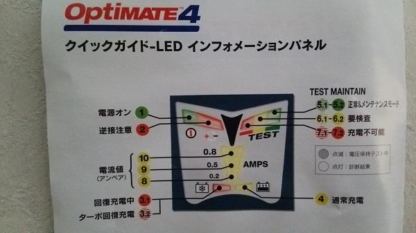 テックメイトの充電器オプティメート4の取扱説明書