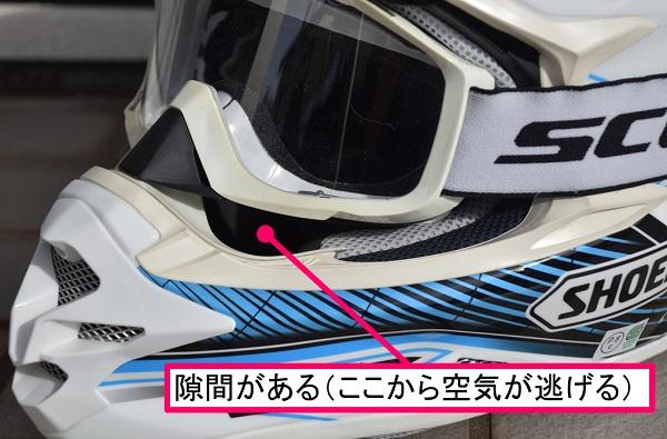 モトクロス用のヘルメットとオフロードバイク用のゴーグルの間にできた隙間