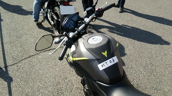 大阪モーターサイクルショー2018の試乗会で用意されたヤマハのスポーツバイクのMT-03