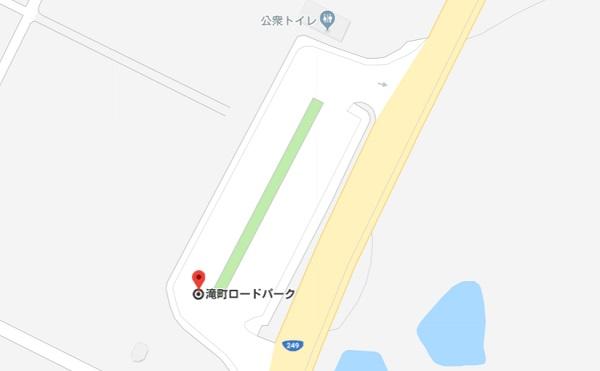 石川県志賀町にある駐車場の滝町ロードパークの地図