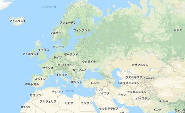 ヨーロッパ圏の地図