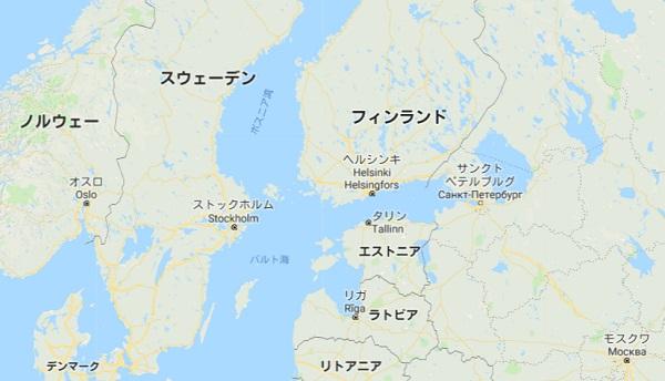 北欧周辺の地図