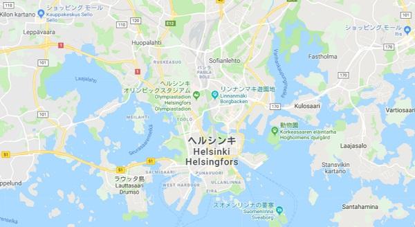 ヘルシンキ周辺の地図