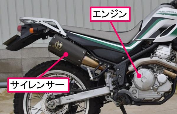 バイクのサイレンサーとエンジン