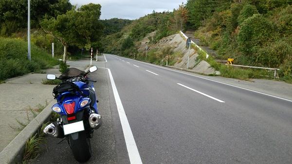 道路 スズキ メガスポーツバイク 隼 路肩 停車