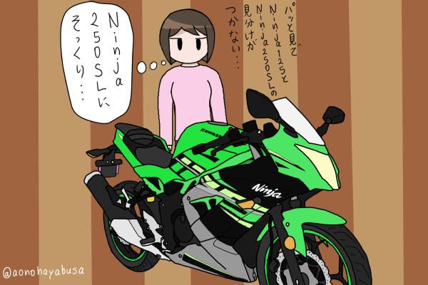 カワサキ バイク Ninja125 KRTカラー バイクを眺める人