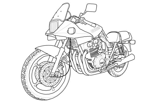 スズキ カタナ GSX1100S バイク イラスト 線画