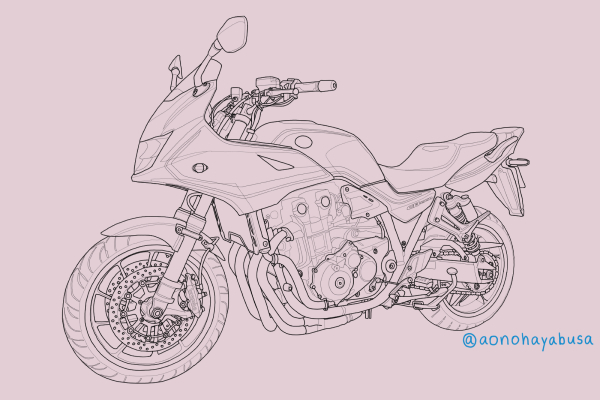 ホンダ バイク CB1300 SUPER BOL D'OR SP イラスト 線画