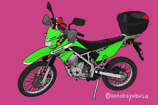 カワサキ オフロードバイク KLX125 原付二種 グリーン リアボックス