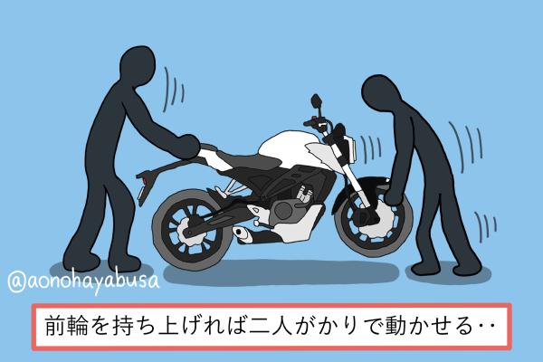 バイク 盗難 バイクのフロントを持ち上げて盗もうとしている泥棒二人組 イラスト