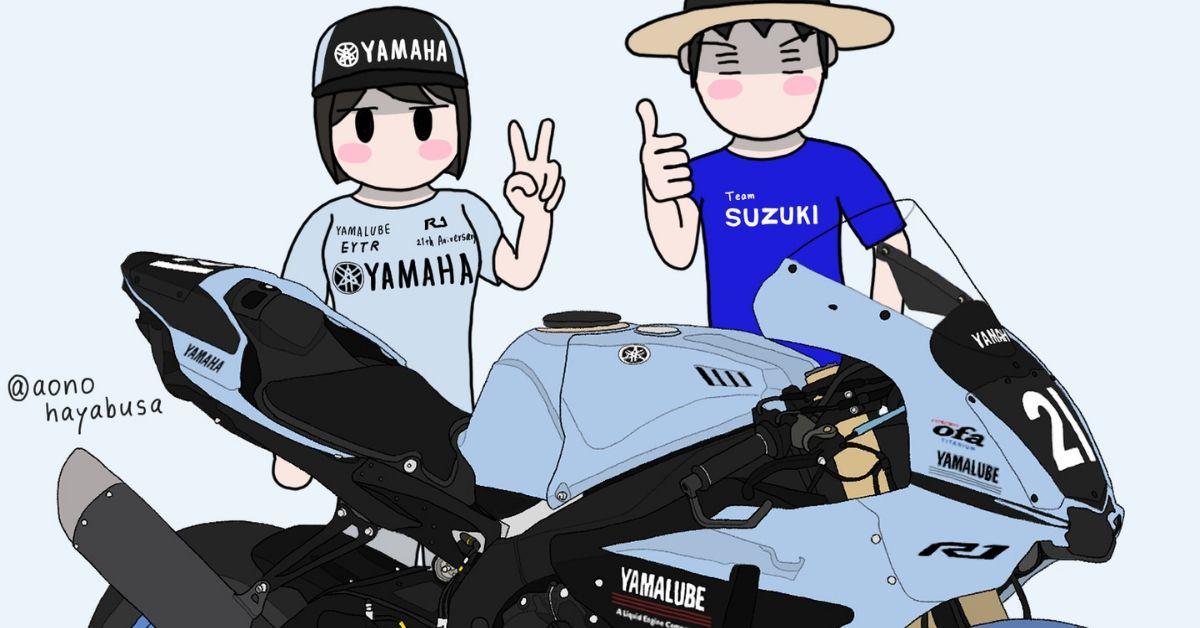 ヤマハ バイク リッターSS YZF-R1 TECH21カラー 2019年鈴鹿8耐 バイクを眺める人