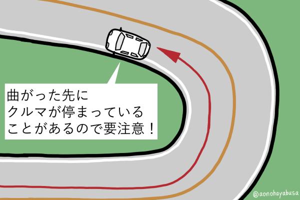 道路 カーブの先に停まっている自動車 図