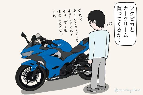 カワサキ バイク Ninja250 2018年式 ブルー バイクを眺める人