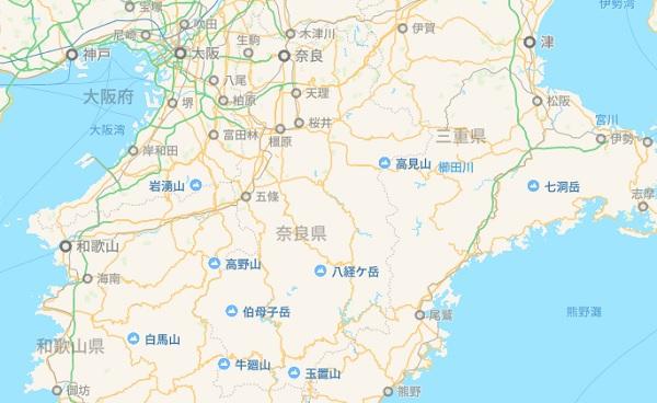 日本地図 奈良県 関西