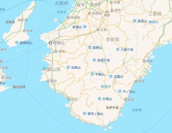 日本地図 和歌山周辺