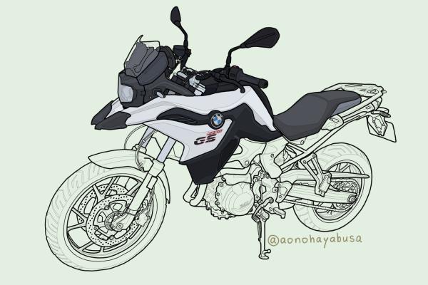 BMW motorrad モトラッド バイク アドベンチャー F750GS 2019年式 ライト・ホワイト イラスト