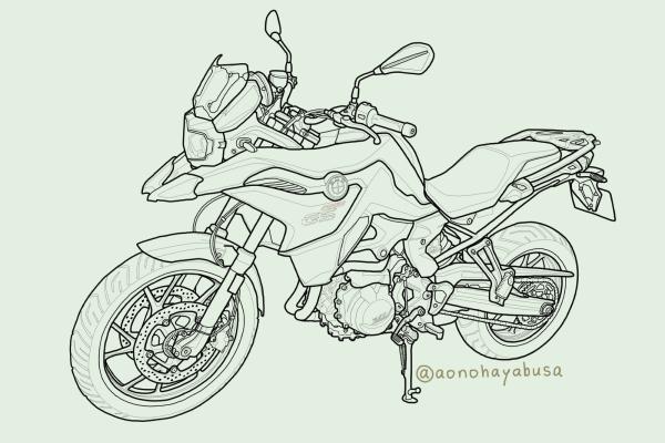 BMW motorrad モトラッド バイク アドベンチャー F750GS イラスト 線画