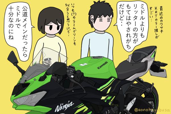 カワサキ バイク ミドルクラス SS Ninja ZX-6R ライムグリーン×エボニー KRT EDITION 2019年モデル バイクを眺める人