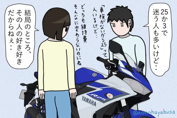 ヤマハ バイク YZF-R25 ディープパープリッシュブルーメタリックC バイクを眺める人